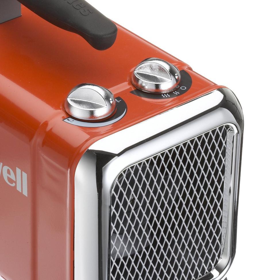 Honeywell HZ-510E Keramik-Heizlüfter 1100//1800 Watt 2 Stufen 22m² Rot//Chrom